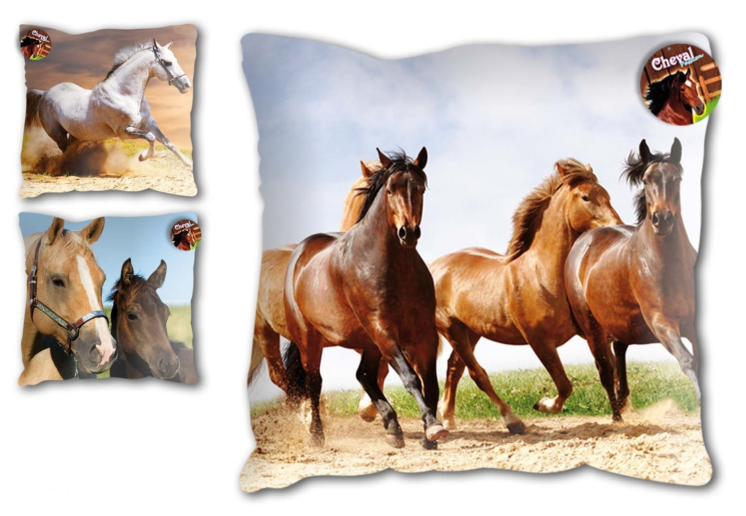 Coussin motif cheval for Tapis chambre motif cheval