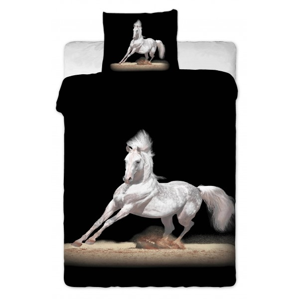 housse de couette cheval blanc - paradis du cheval