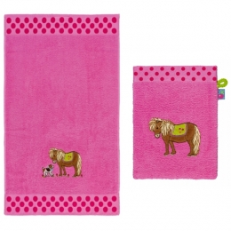 Parure Linge De Toilette Rose Poney