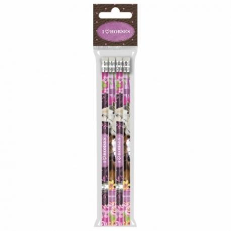 Set De 4 Crayons à Papier HB Cheval Rose