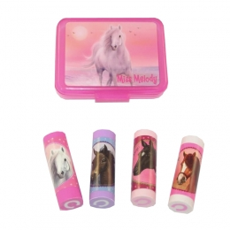 Set Rose De 4 Gommes Cheval Miss Mélody