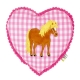 Coussin Coeur Rose Brodé Poney