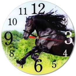 Pendule Ronde Cheval Noir