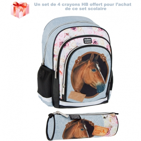 Set Scolaire Cheval Marron Sac + Trousse