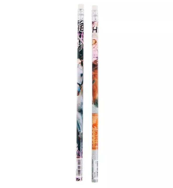 2 Crayons à Papier Cheval HB Avec Gomme