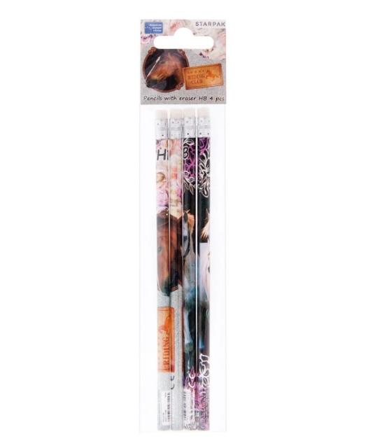 Set De 4 Crayons à Papier HB Cheval